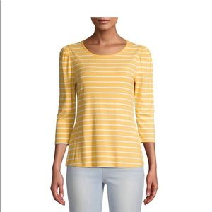 Time and Tru Women's 3/4 Puff Sleeve Top/L (12-14)